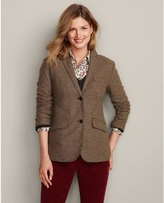 Classic Wool-Blend Blazer - Pattern | Eddie Bauer