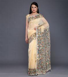 Cream Cotton Silk Hand Painted Madhubani Saree #ethnicwear #saree #khadisilk #handpainted #madhubani #summer #indianroots
