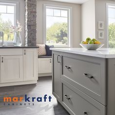 Markraft Cabinets, Inc offers custom cabinet design and installs for kitchens and baths. Grey Kitchens, Custom Cabinets, Cabinet Design, Kitchen And Bath, Home Remodeling, Countertops, Kitchen Design, Kitchen Cabinets, Bathroom