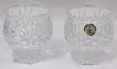 New Lead Crystal Votive Candle Holder Pedestal Scalloped Edge Round Cut Design