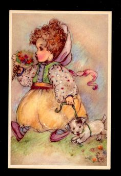 Sunbonnet Girl Walking Cute Puppy Dog Tussie Mussie Flowers Erna Maison Postcard | eBay