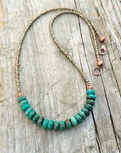 Turquoise Necklace Turquoise with Bronze Beaded by RusticaJewelry