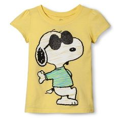 Snoopy Infant Toddler Girls' Short Sleeve Tee - Mellow Yellow