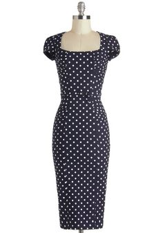 Dot You Agree? Dress by Stop Staring! - Blue, White, Polka Dots, Belted, Work, Pinup, Short Sleeves, Sheath / Shift, Daytime Party, Vintage Inspired, Long