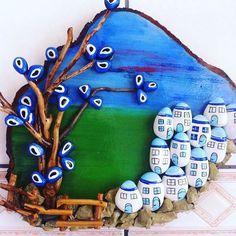 #taş#boya#beyaz#ev#nazarboncugu #ağaç#