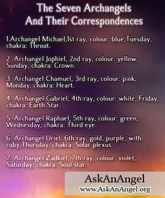 The Seven Archangels And Their Correspondences ray, c. Archangel Zadkiel, Seven Archangels, Archangel Prayers, Angel Guide, Archangel Michael, Spiritual Guidance, Guardian Angels, Spirit Guides, Chakra
