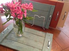 Reclaimed wood pallet trays