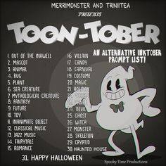 Hey everyone! Do you love October and Inking and OLD CARTOONS? Then consider trying the TOONTOBER prompt list! wanted to do an October Prompt list and since its Inktober we both thought. 30 Day Drawing Challenge, Writing Challenge, Oc Challenge, Inktober, Character Sheet Template, Drawing Ideas List, October Art, Art Prompts, Sketchbook Prompts