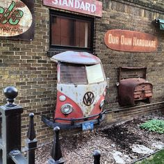 Volkswagen bus through the wall!