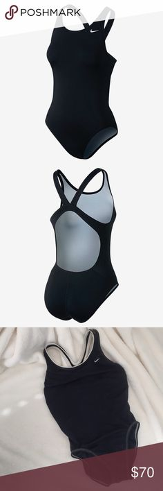 Nike Swimsuit Nike Poly Core Solid Fastback one piece swimsuit in black with white piping and stitching. Super good condition, always washed after being in chlorine or salt water. Elastic isn't stretched out and there are no worn spots or other damage. Nike makes the best swimwear, you will LOVE this suit! 🏊♀️🏄♀️ Nike Swim