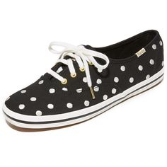 Kate Spade New York x Keds Kick Polka Dot Keds Sneakers ($79) ❤ liked on Polyvore featuring shoes, sneakers, print shoes, laced sneakers, laced shoes, kate spade shoes and spot shoes