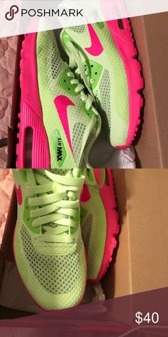 Air Max Great condition only wore a couple times. Like green and hot pink Nike Shoes Sneakers