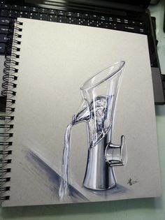 I wish i knew how to do liquids Rendering Techniques, Sketching Techniques, Sketch Markers, Copic Markers, Sketch Inspiration, Design Inspiration, Copic Drawings, Industrial Design Sketch, Toned Paper