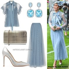 The Duke & Duchess of Cambridge joined the Queen and other members of the royal family for the opening day of Royal Ascot. Kate wore a blue dress by Elie Saab and Philip Treacy rosette hat. Looks Kate Middleton, Estilo Kate Middleton, Classy Outfits, Stylish Outfits, Fashion Outfits, Womens Fashion, Kate Midletton, Nice Dresses, Casual Dresses