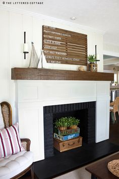 Decorating an empty fireplace....love the basket and crates!