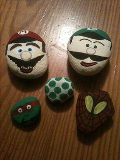 Mario brothers mario luigi spiderman ninja turtle yoshi egg painted rocks