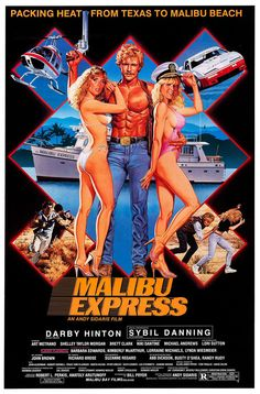 Malibu Express: Andy Sidaris Director of the movie Malibu Express with Cast Darby Hinton, Sybil Danning, Art Metrano. Action Movie Poster, Movie Poster Art, Print Poster, Cinema Posters, Film Posters, English Hot Movie, Free Bollywood Movies, Sybil Danning, Vintage Movies