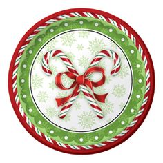 Christmas Candy Canes Paper Dinner Plates – Bulk