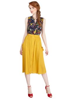 Just Dandy Skirt in Goldenrod. Youll feel fine and dandy when you don this skirt in a bold dandelion hue! #yellow #modcloth