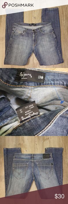 """Pepe Jeans London Jeans Comfort Straight Leg 36x34 Great condition. Worn once. No signs of stains, tears or flaws. Blue wash. Embroidered. 5 pockets. Straight fit - Leg opening: 8 inches. Seam: 32"""" Rise: 9.5"""" Images represent exactly how product/s look/s like for purchasing. Shipping within 24 hours via USPS Priority mail. Pepe Jeans Jeans Straight"""