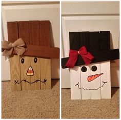 Reversible scarecrow/snow man porch decoration made of pallets
