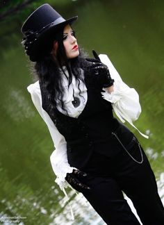 The vest,  chain. . Hat.  Neo-Victorian Goth girl - Not going to lie, once just ONCE I would like to be able to pull this off :)