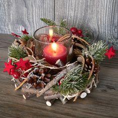 Holzkranz mit Deko Windlicht Advent Adventskranz Weihnachten Holz Glas rot grün 2 • EUR 7,50