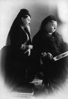 Queen Victoria and her oldest daughter, Victoria, widow of Emperor Frederick of Germany, as they mourned from the death of Emperor Frederick III in 1888. After her husband's death, Victoria  became widely known as Empress Frederick