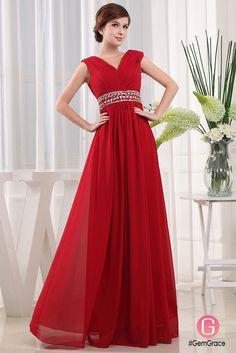 A-line V-neck Floor-length Chiffon Prom Dress With Beading  OP3259  129.5 -  GemGrace.com ae0524623cbc