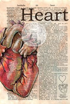 PRINT: Heart Mixed Media Drawing on Distressed, Dictionary Page