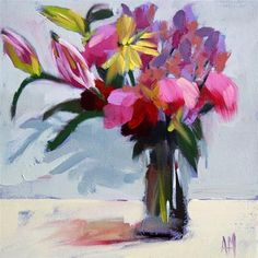 "Daily+Paintworks+-+""End+of+Day+Flowers""+-+Original+Fine+Art+for+Sale+-+©+Angela+Moulton"
