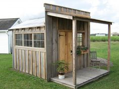 Check out this Did-it-myself project! Cabin, shmamin...this would make a GREAT  chicken coop.