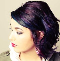 Looking for latest hair color ideas for your short hair? In this post you will find best images of 35 New Hair Color for Short Hair that you will in love! Oil Slick Hair Color, Hair Color And Cut, Haircut And Color, Cool Hair Color, Hair Colors, Slick Hairstyles, Hairstyles Haircuts, Pretty Hairstyles, Bright Hair