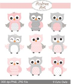 9 cute owls clip art Pink Owls baby pink and by Audreeartclipart