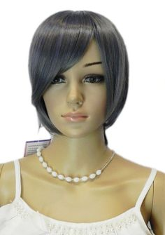 Paixpays Women's Heat Resistant Silver Grey Short Straight Bob Hair Full wig ** This is an Amazon Affiliate link. Click image for more details.