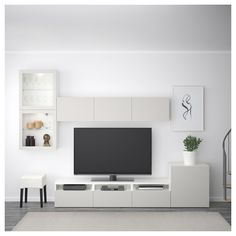 IKEA - BESTÅ TV storage combination/glass doors white, Lappviken light