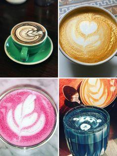 Idee di glitter coffee e glitter cappuccino, colorati in rosa, blu e oro e decorati con la latte art. La ricetta per prepararlo anche a casa con caffè espresso e latte montato a vapore.