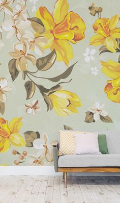 Brighten up your home with this cheerful daffodil wallpaper design. This floral print is full of colour and will bring heaps of personality to your bedroom or living room spaces.