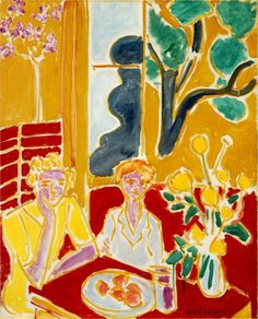 Henri Matisse ~ Two Girls in a Yellow and Red Interior, 1947 We are about to decorate my two year old grand daughters bedroom with a Matisse inspired fabric watch this space