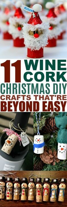 These 11 Wine Cork Christmas DIY Crafts Are So ADORABLE! I love that they can easily be gifted or used for decor. #winecorks #christmascrafts