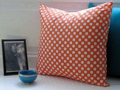 Cute Polka Dot Print Cushion Tangerine by LilyLovesShopping