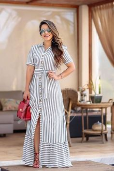 ¿y tu, ya compraste? Modest Dresses, Casual Dresses, Summer Dresses, Modest Fashion, Fashion Dresses, Kurti Designs Party Wear, Cotton Dresses, African Fashion, Dress To Impress