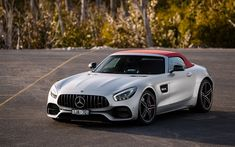 Download wallpapers Mercedes-Benz GT C AMG, Roadster, 2018, 4k, supercar, silver sports coupe, soft roof, luxury cars, Mercedes