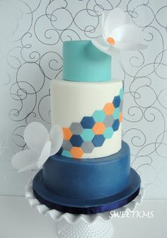 Hexagon Design with Wafer Paper Flowers - Cake by Kristen