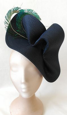 Navy blue hat-Blue wedding hat-Peacock fascinators by Tocchic