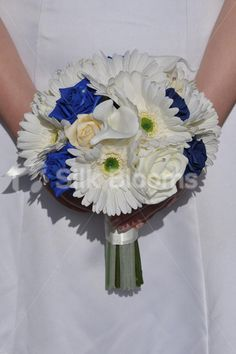 Rustic White Gerbera & Royal Blue Rose Bridal Wedding Bouquet - Silk Flowers #artificialflowers #wedding #weddingflowers #bouquet #flowers #bridalbouquet #silkflowers #gerberas #blue #roses