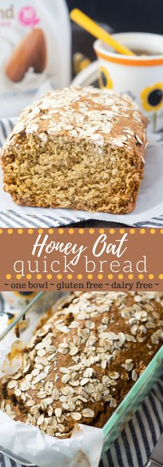 This gluten free honey oat bread is made with just a few simple ingredients in only one bowl! No refined flour (oat flour only), butter or dairy! #sponsored #PlantBasedGoodness