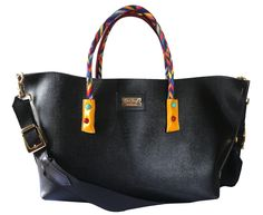 """New """"Black & Color""""!!Maxi shopping 100% black genuine leather with colored handles and maxi shoulder strap. Shop at: www.chixbags.it Original Handmade Bags Tuscany/Italy Worldwide shipping info@chixbags.it"""