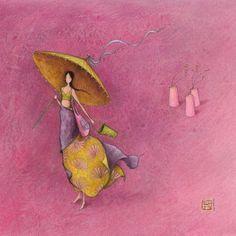 """Carte carrée Gaëlle Boissonnard """"La fille à l'ombrelle"""""""