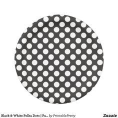 Black u0026 White Polka Dots | Paper Plates  sc 1 st  Pinterest & Gray u0026 White Chevron | Paper Plates | Custom Party PAPER PLATES ...